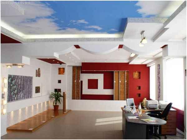 Натяжные потолки с фотопечатью в офисе