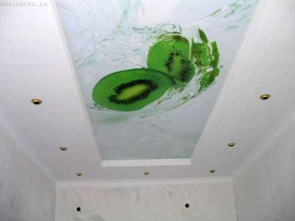 Натяжные потолки с фотопечатью киви