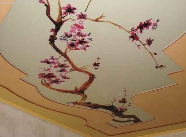 Натяжные потолки с фотопечатью сакуры