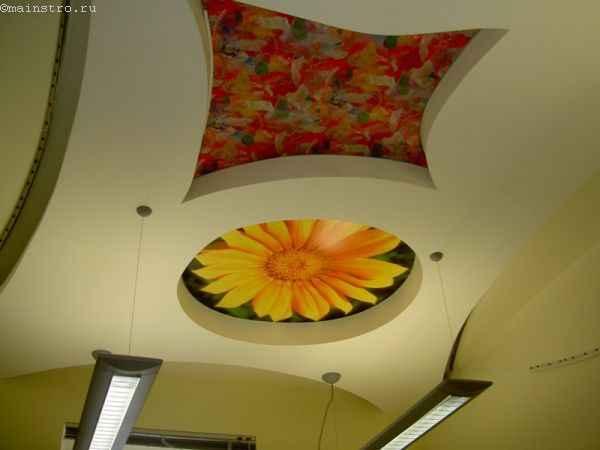 Натяжные потолки с цветочной фотопечатью
