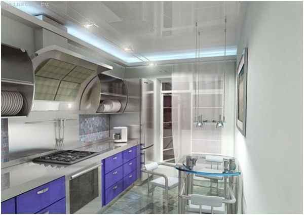 Натяжные потолки для кухни - все детали вытяжки и трубы спрятаны
