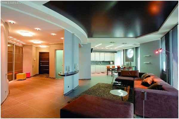 Черно-белые натяжные потолки для кухни