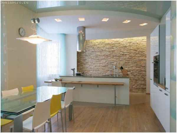 Натяжные потолки для кухни вместе с гипсокартонным