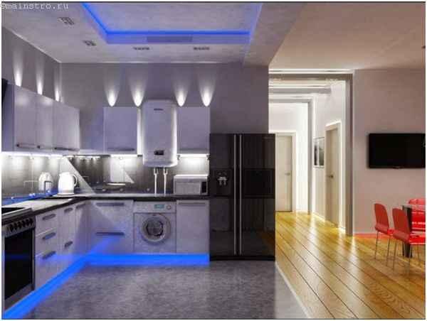 Натяжные потолки для кухни с подсветкой