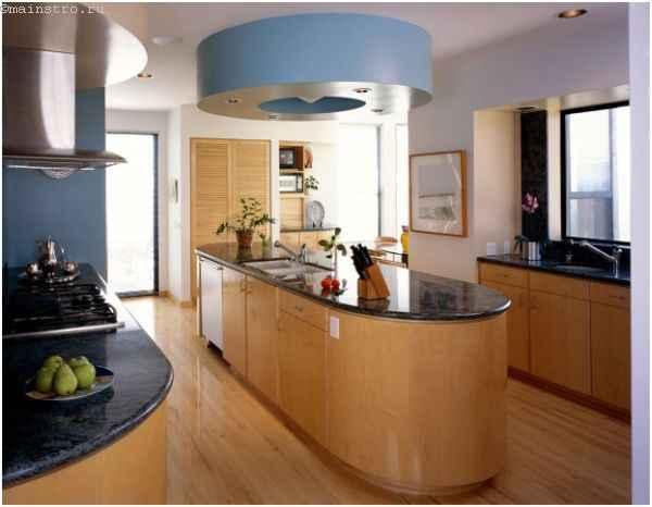 «Островные» натяжные потолки для кухни