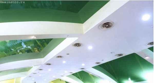 Комбинированные натяжные потолки для кухни