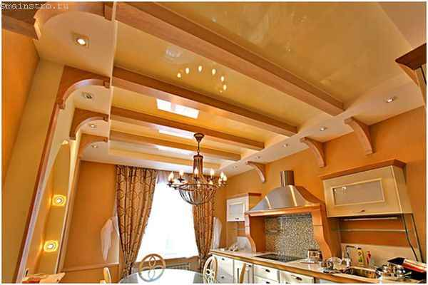 Оригинальные натяжные потолки для кухни
