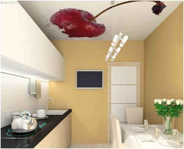 Натяжные потолки для кухни с фото сочной вишни