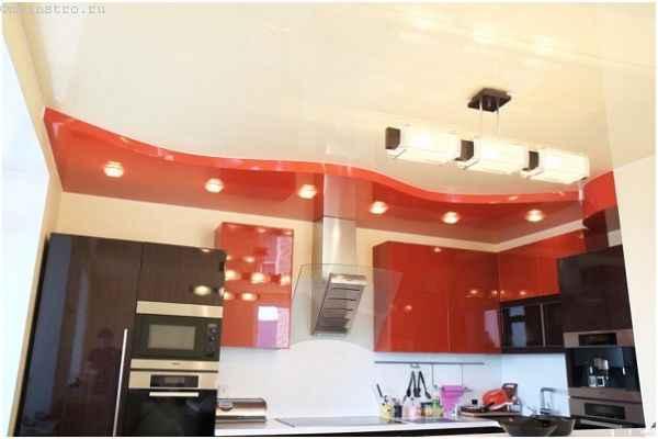 Красные глянцевые натяжные потолки для кухни
