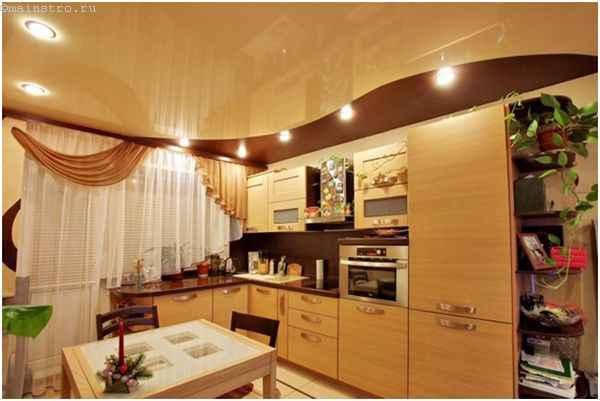 Натяжные потолки для кухни в два уровня