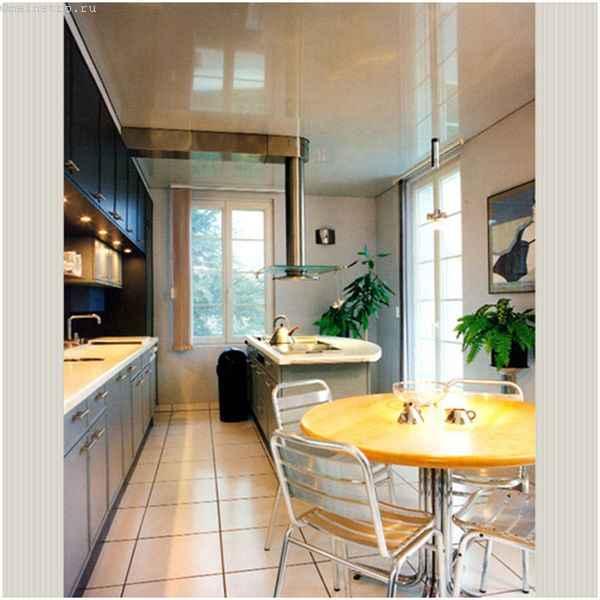 Одноуровневые натяжные потолки для кухни