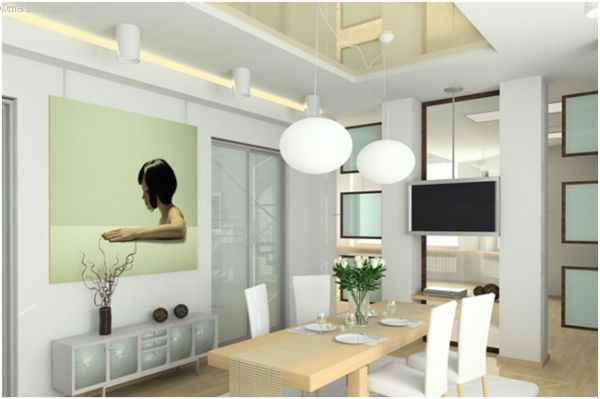Глянцевые натяжные потолки для кухни