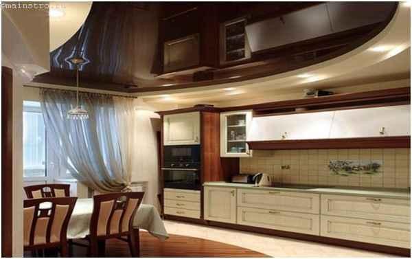 Двухуровневые натяжные потолки для кухни