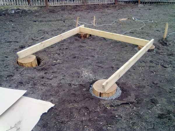 Столбчатый фундамент под садовую беседку