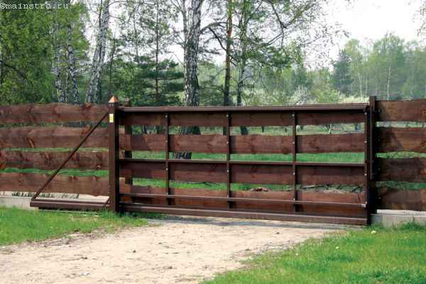 Стандартный каркас въездных ворот из дерева