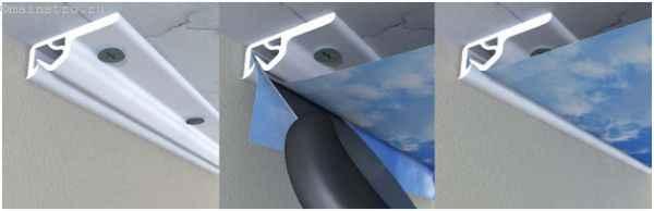 Кулачковый крепёж и багет для натяжных потолков: фото последовательности