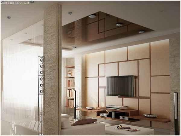 ПВХ и тканевые виды натяжного потолка в одном помещении
