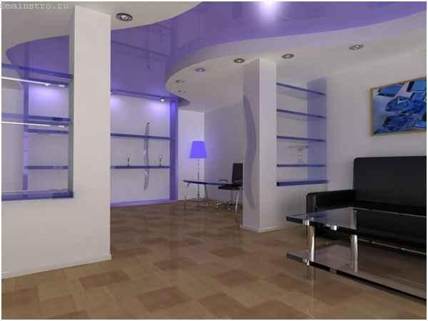 Использование двух видов натяжного потолка в одном помещении