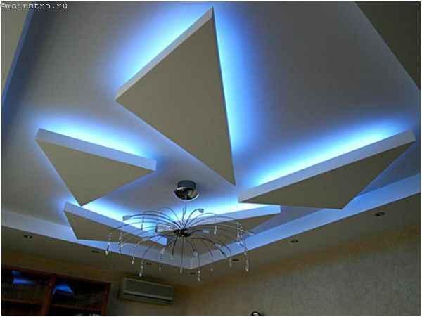Парящий натяжной потолок геометрических форм