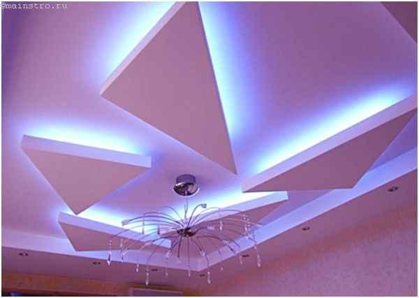Красивый парящий натяжной потолок, состоящий из разных частей