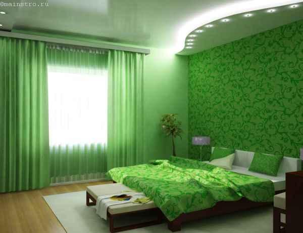 Глянцевый парящий натяжной потолок в спальне