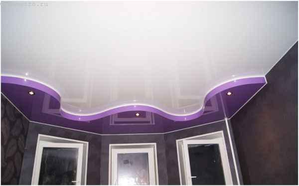Как выбрать натяжной потолок с галтелью - фото двухуровневой конструкции