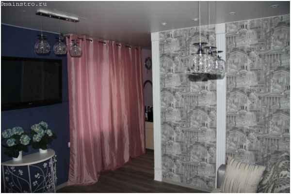 Тканевый натяжной потолок - фото интерьера