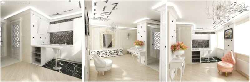 Сатиновый натяжной потолок с фотопечатью в интерьере - фото