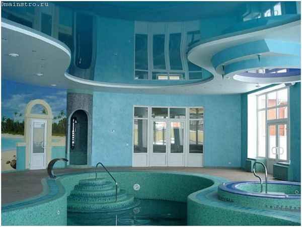 ПВХ натяжные потолки в бассейне - фото