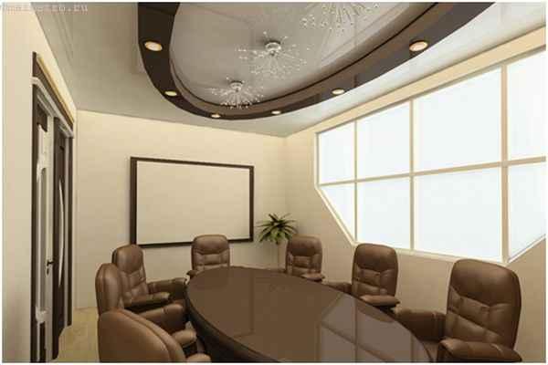 Многоуровневые натяжные потолки с люстрами в кабинете