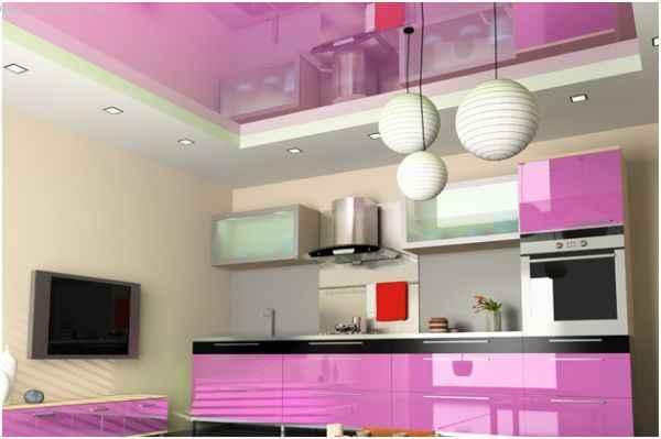 Зеркальные и матовые натяжные потолки для кухни - фото