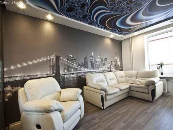 Тканевый натяжной потолок и стена с фотопечатью