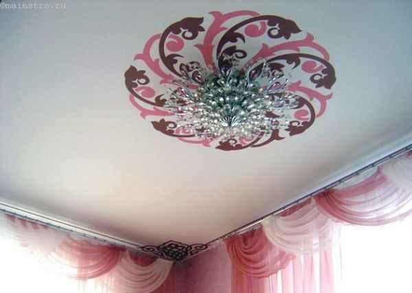 Фото: тканевый натяжной потолок с фотопечатью и люстрой