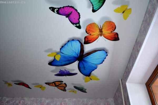 На фото тканевый натяжной потолок с 3Д рисунком