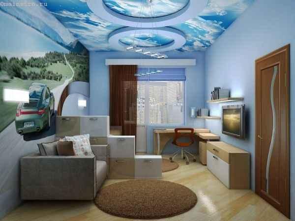 3Д тканевый натяжной потолок - фото детской комнаты