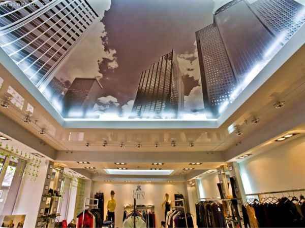 Глянцевый и тканевый натяжной потолок с 3Д фотопечатью с одном помещении