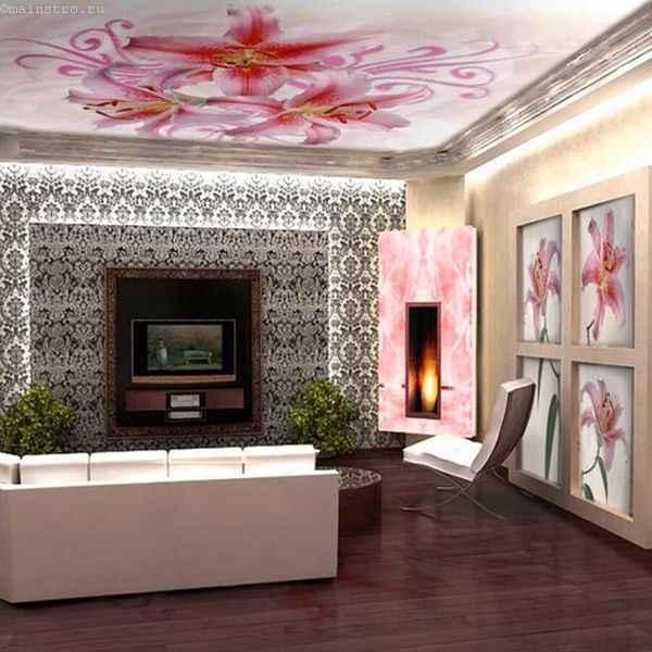 Объемный тканевый натяжной потолок и стены - фото