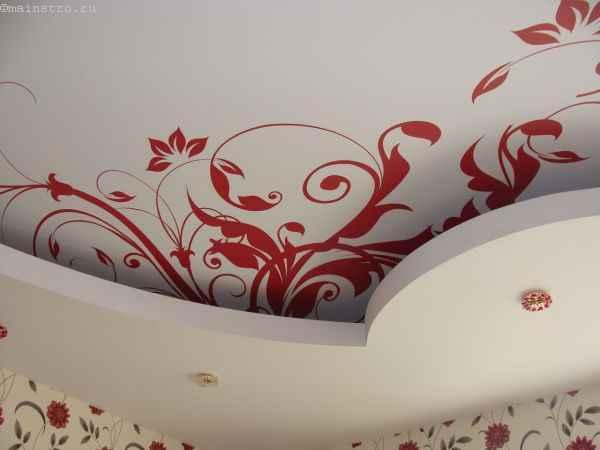 Фото: тканевый натяжной потолок с фотопечатью и гипсокартоный