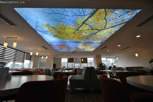 Тканевый натяжной потолок с 3-Д печатью и внутренней подсветкой