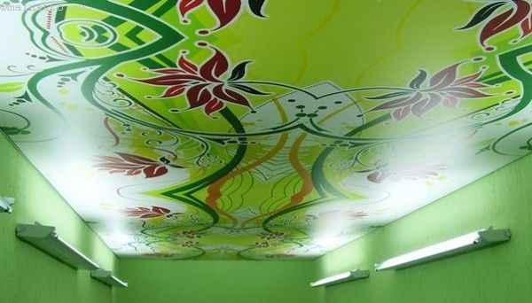 Тканевый натяжной потолок - фото с нанесенным изображением
