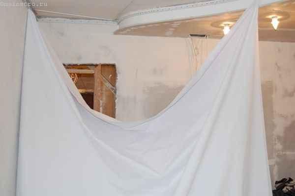 Тканевый натяжной потолок : установка полотна