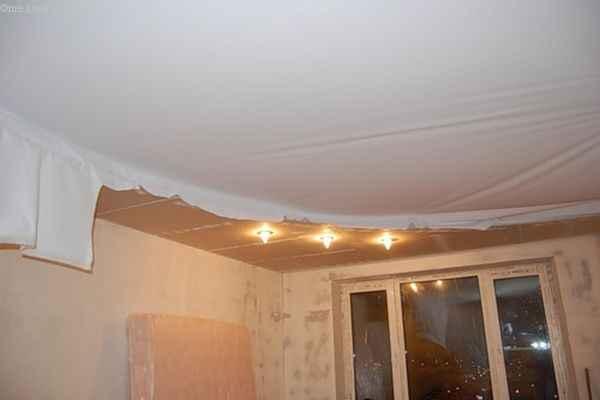 Тканевый натяжной потолок : натяжка