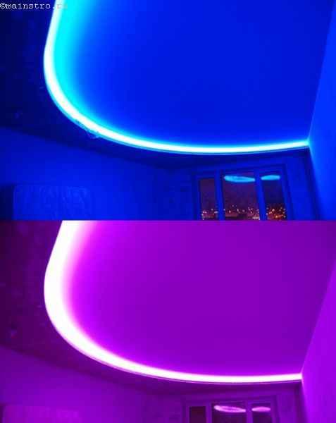 На фото тканевый натяжной потолок  с закарнизной LED подсветкой