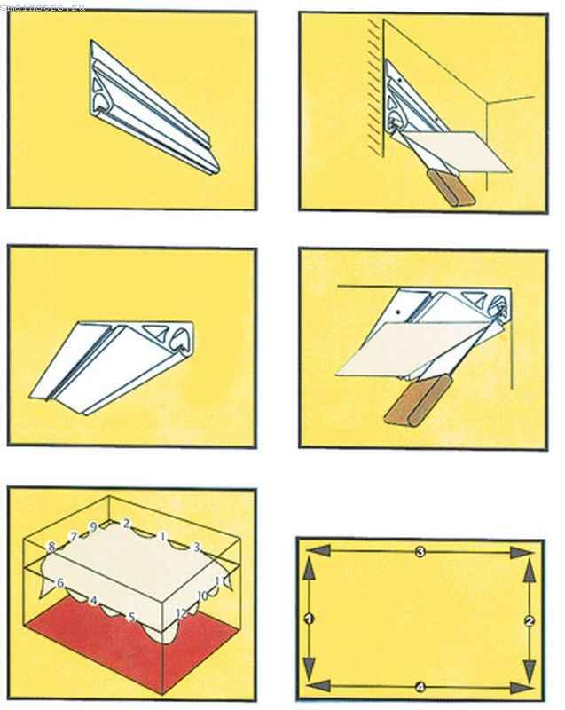 ПВХ натяжной потолок : схема гарпунного метода