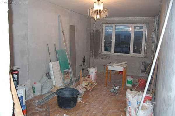 Тканевый натяжной потолок  - фото до ремонта