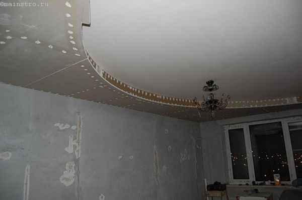 Делаем натяжной потолок  поверх гипсокартоного