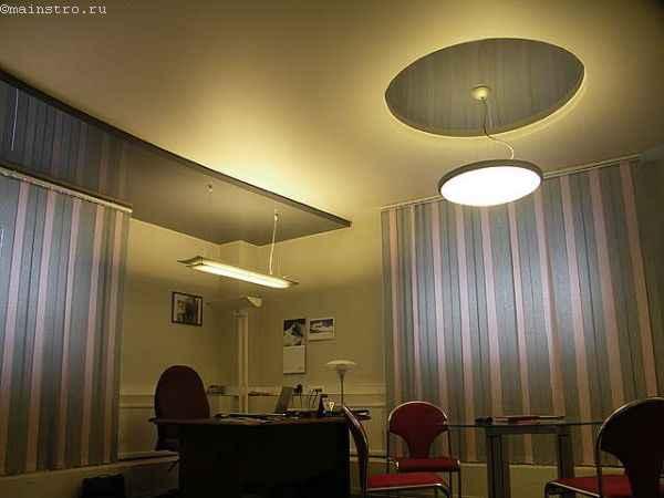 Двухуровневый натяжной потолок с декоративной лентой под цвет ПВХ