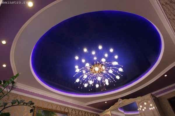Фото натяжного потолка с плинтусом и люстрой