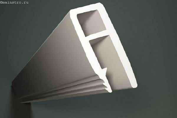 На фото комплектующие для натяжного потолка: h-образный багет