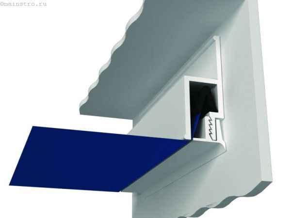 Комплектующие для натяжного потолка: схема гарпунного крепежа